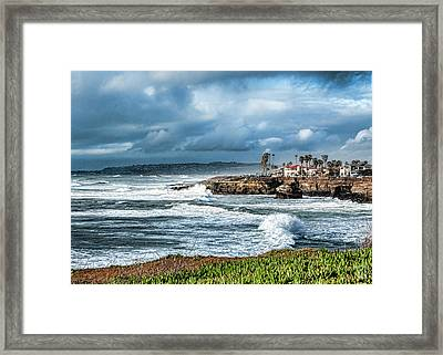 Storm Wave At Sunset Cliffs Framed Print by Daniel Hebard