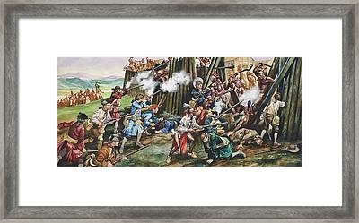 Storming Of The Fortress Of Neoheroka Framed Print by Ron Embleton