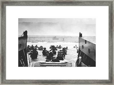 Storming The Beach On D-day  Framed Print by War Is Hell Store