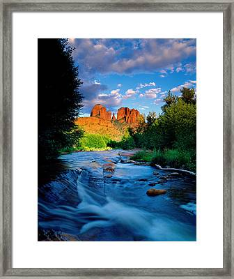 Stormlight On Red Rock Crossing Framed Print by Kerrick James