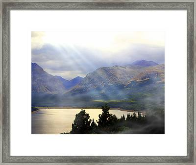 Storms A Coming-lower Two Medicine Lake Framed Print by Marty Koch