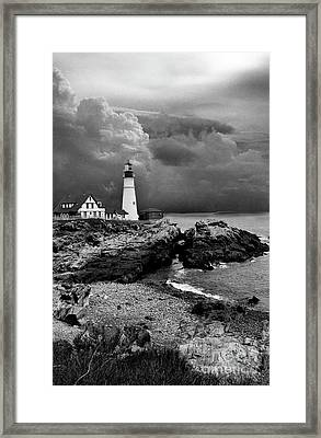 Storms Over The Head Bnw Framed Print by Skip Willits