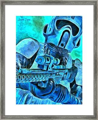 Stormtrooper And Weapon - Da Framed Print