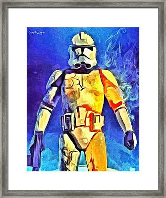 Stormtrooper Commander - Da Framed Print by Leonardo Digenio