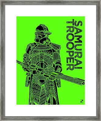 Stormtrooper - Green - Star Wars Art Framed Print by Studio Grafiikka