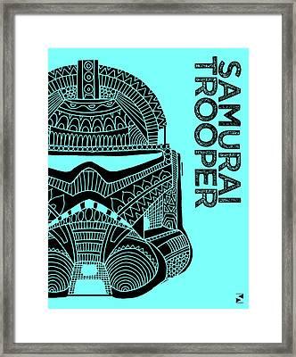 Stormtrooper Helmet - Blue - Star Wars Art Framed Print by Studio Grafiikka