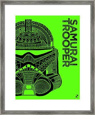 Stormtrooper Helmet - Green - Star Wars Art Framed Print by Studio Grafiikka
