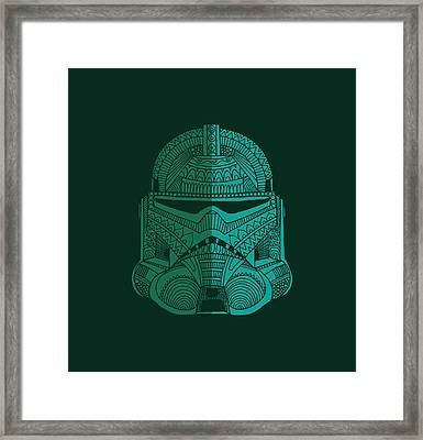 Stormtrooper Helmet - Star Wars Art - Blue Green Framed Print