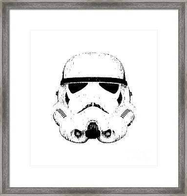 Stormtrooper Helmet Star Wars Tee Black Ink Framed Print by Edward Fielding