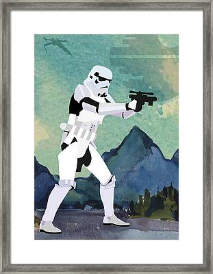 Stormtrooper Star Wars Character Quotes Poster Framed Print by Lab No 4