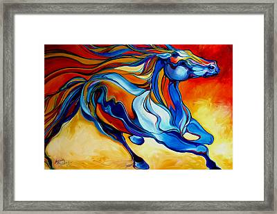 Stormy An Equine Abstract Southwest Framed Print by Marcia Baldwin