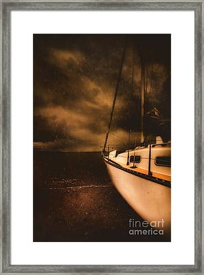 Stormy Artistic Portrait Of A Yacht Framed Print