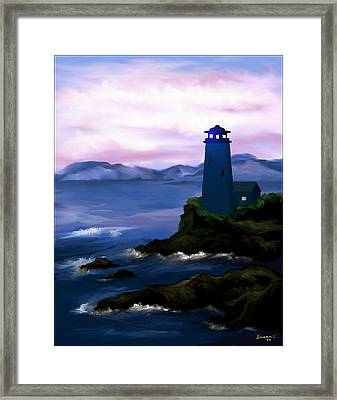 Framed Print featuring the painting Stormy Blue Night by Susan Kinney