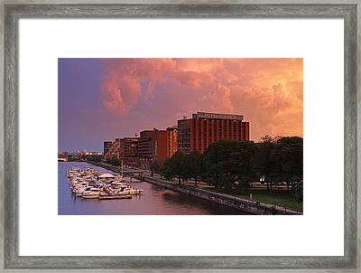 Framed Print featuring the photograph Stormy Boston by Juergen Roth