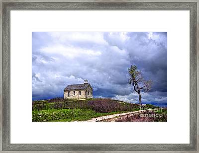 Stormy Day At Lower Fox Creek School Framed Print