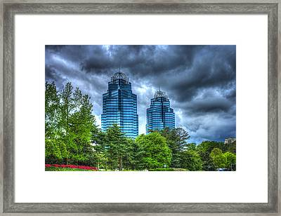 Stormy Day Blues The King And Queen Concourse Buildings  Atlanta Georgia Art Framed Print by Reid Callaway