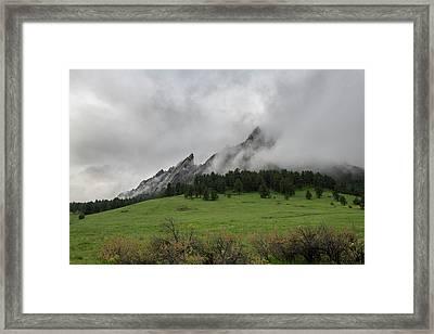 Stormy Flatirons Framed Print