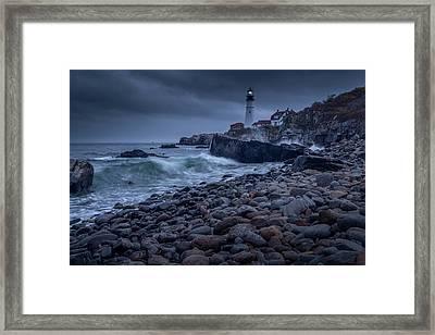 Stormy Lighthouse Framed Print