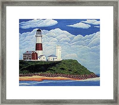Framed Print featuring the painting Stormy Montauk Point Lighthouse by Frederic Kohli