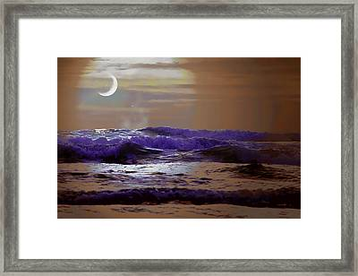 Ocean Framed Print featuring the photograph Stormy Night by Aaron Berg