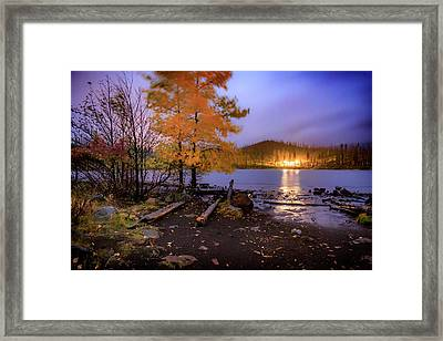 Framed Print featuring the photograph Stormy Night At Round Lake by Cat Connor