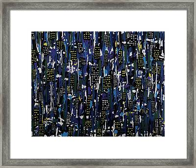 Framed Print featuring the painting Stormy Night In The City by Teresa Wing