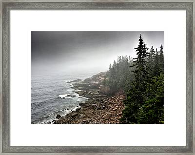 Stormy North Atlantic Coast - Acadia National Park - Maine Framed Print by Brendan Reals