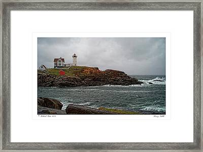 Framed Print featuring the photograph Stormy Nubble by Richard Bean