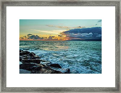 Stormy Ocean Sunset Framed Print by April Reppucci