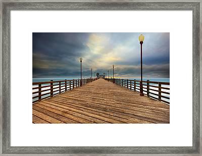 Stormy Oceanside Sunset Framed Print by Larry Marshall