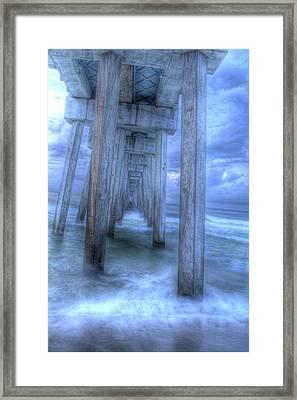 Stormy Pier 1 Framed Print by Larry Underwood