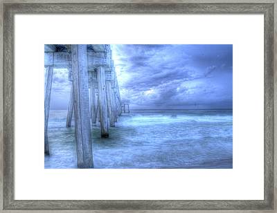 Stormy Pier Framed Print by Larry Underwood