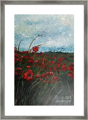 Stormy Poppies Framed Print by Nadine Rippelmeyer