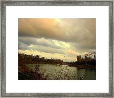 Stormy River Framed Print by Dottie Dees
