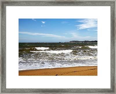 Stormy Sea In A Clear Sunny Day Framed Print