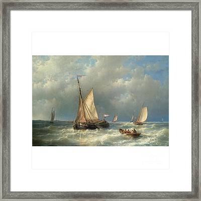 Stormy Sea With Ships Framed Print