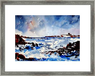 Stormy Skelligs Framed Print by Wilfred McOstrich