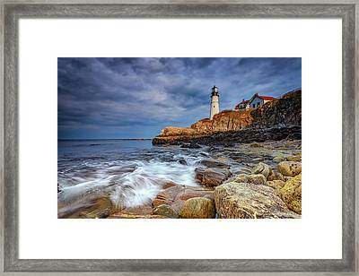 Stormy Skies At Portland Head Framed Print by Rick Berk