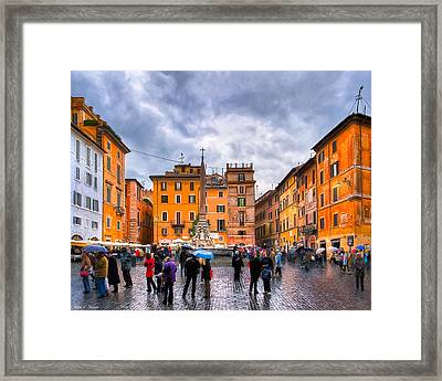Stormy Skies Over A Roman Piazza Framed Print