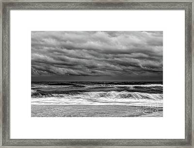 Framed Print featuring the photograph Stormy Skies Turbulent Ocean Outer Banks Bw by Dan Carmichael