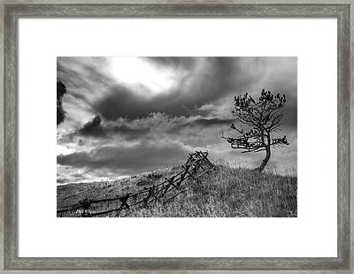 Stormy Sky At The Ranch Framed Print