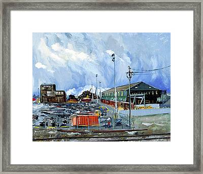 Stormy Sky Over Shipyard And Steel Mill Framed Print by Asha Carolyn Young