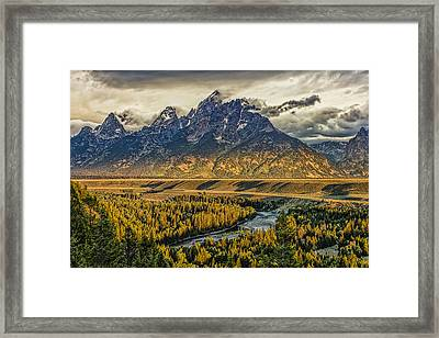 Stormy Sunrise Over The Grand Tetons And Snake River Framed Print