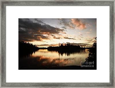 Stormy Sunset On Little Saganaga Lake Framed Print by Larry Ricker