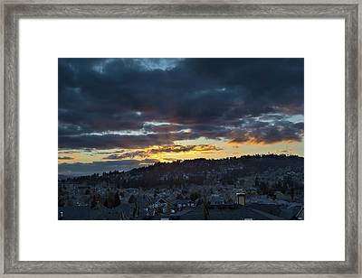 Stormy Sunset Over Happy Valley Oregon Framed Print by David Gn