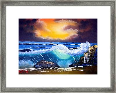 Stormy Sunset Shoreline Framed Print by Dina Sierra