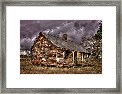Framed Print featuring the photograph Stormy Times Tenant House Greene County Georgia Art by Reid Callaway