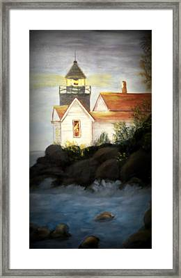 Stormy Waters Lighthouse Framed Print