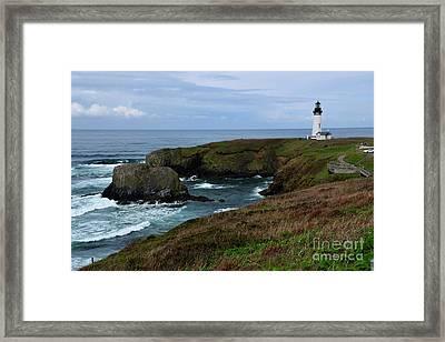 Stormy Yaquina Head Lighthouse Framed Print
