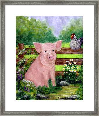 Framed Print featuring the painting Storybook Pig by Sandra Estes
